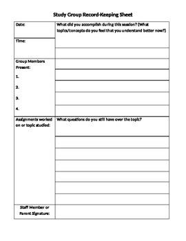 Study Group Record-Keeping Sheet
