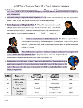 Study Guide 5th Gr S. Studies Chapter 3 A Time of Exploration US History