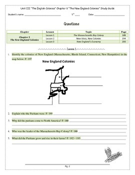 Study Guide 5th Gr S. Studies Chapter 5 The New England Colonies US History