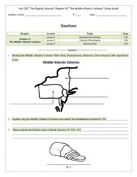 Study Guide 5th Gr S. Studies Chapter 6 The Middle Atlantic Colonies US History