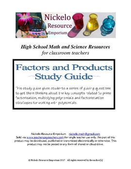 Study Guide - Algebra (Factors and Products)
