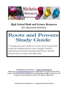 Study Guide - Algebra (Roots and Powers)