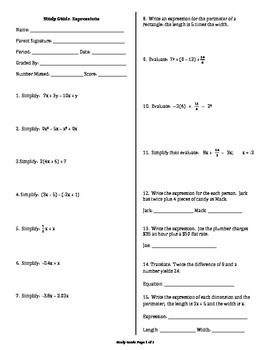 Study Guide Algebraic Expressions