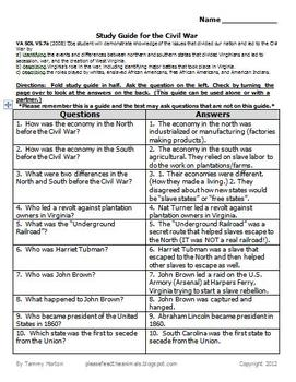 Study Guide:  Civil War