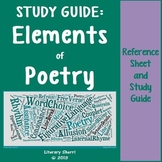POETRY: Elements of Poetry Reference Sheet, Study Guide, and Review