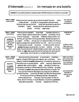 Study Guide - Episode 4 - El Internado - Un mensaje en una