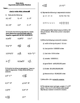 Study Guide Exponents & Scientific Notation