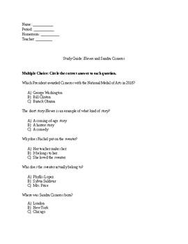 """Study Guide For """"Eleven"""" and Author Sandra Cisneros"""