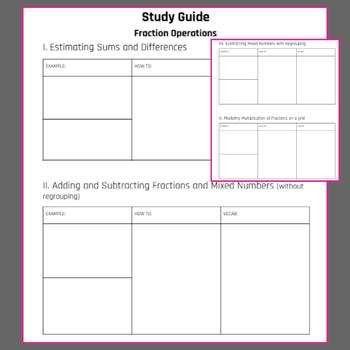 Study Guide- Fraction Operations