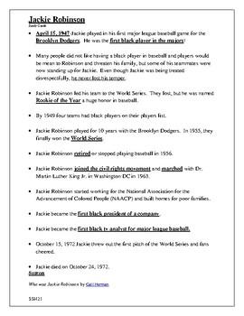 Study Guide-Jackie Robinson