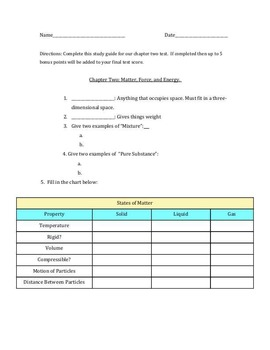Study Guide: Matter, Force, and Energy