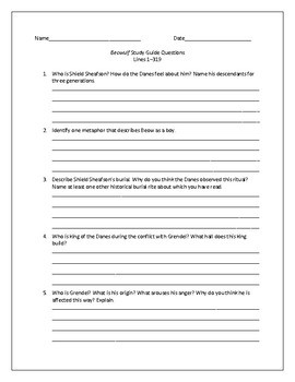 Study Guide Questions and Answers for Beowulf (Seamus Heaney Translation)