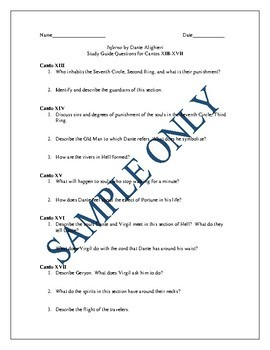 Study Guide Questions and Answers for Dante's Inferno