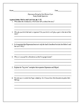 Study Guide Questions and Answers for Esperanza Rising by Pam Munoz Ryan