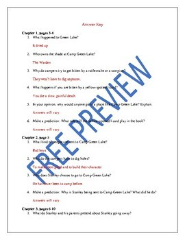 Study Guide Questions and Answers for Holes by Louis Sachar
