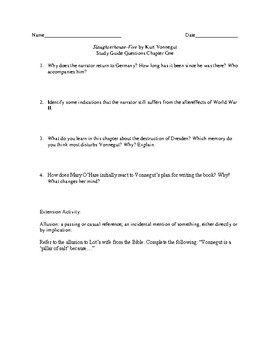Study Guide Questions and Answers for Slaughterhouse-Five by Kurt Vonnegut