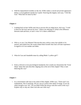 "Study Guide Questions for ""All the King's Men"" (10 Pages)"