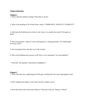 """Study Guide Questions for """"Brave New World"""" (14 Pages)"""