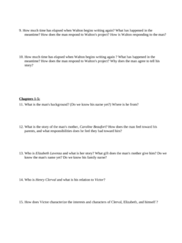 """Study Guide Questions for """"Frankenstein"""" (17 Pages)"""