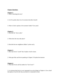 "Study Guide Questions for ""Freak the MIghty"" (8 Pages)"