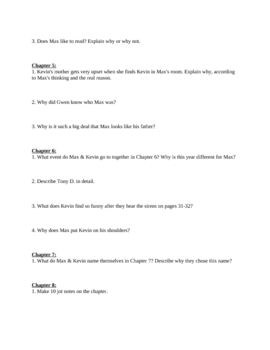 """Study Guide Questions for """"Freak the MIghty"""" (8 Pages)"""