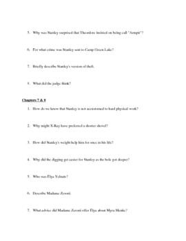 """Study Guide Questions for """"Holes"""" (19 Pages)"""