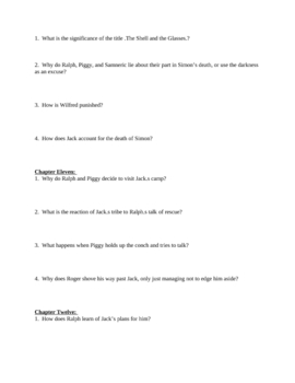 """Study Guide Questions for """"Lord of the Flies"""" (10 Pages)"""