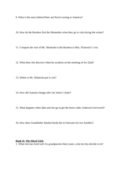 """Study Guide Questions for """"My Antonia"""" (8 Pages)"""