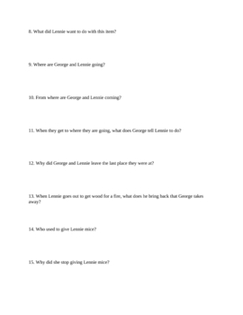 "Study Guide Questions for ""Of Mice and Men"" (14 pages)"