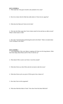 """Study Guide Questions for Shakespeare's """"Twelfth Night"""" (11 pgs)"""