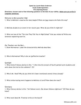 Study Guide Questions for Speak by Laurie Halse Anderson