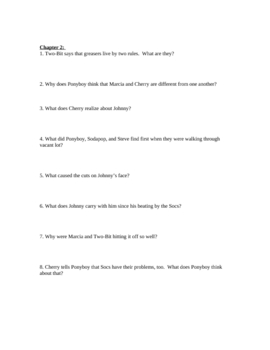 "Study Guide Questions for ""THe Outsiders"" (13 Pages)"