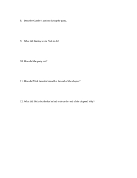 Study Guide Questions for The Great Gatsby- 11 Pages