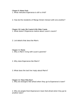 """Study Guide Questions for """"The House on Mango Street"""" (13 Pages)"""