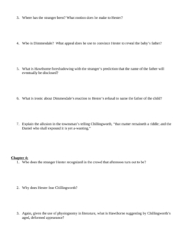 """Study Guide Questions for """"The Scarlet Letter"""" (19 Pages)"""