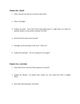 "Study Guide Questions for ""The Shipping News"" (18 Pages)"