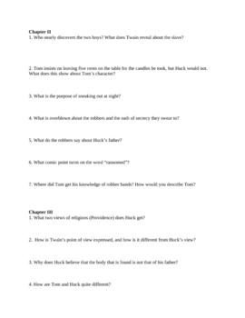 """Study Guide Questions to """"Huckleberry Finn"""" (15 Pages)"""