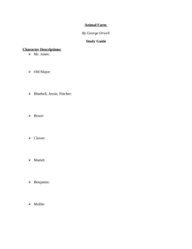 "Study Guide Questions to Orwell's ""Animal Farm"" (22 Pages)"