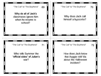 Study Guide Questions with Answers for Wonder by R.J. Palacio Task Cards Format