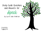 Study Guide Questions with Answers for the novel Speak by Laurie Halse Anderson