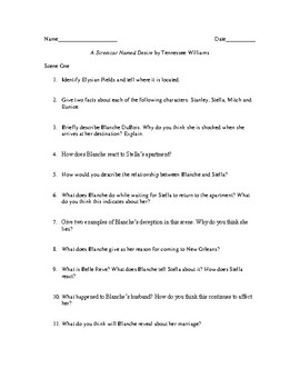 Study Guide Questions with Answers for the play A Streetcar Named Desire