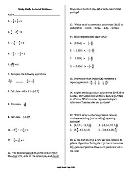 Study Guide Rational Numbers