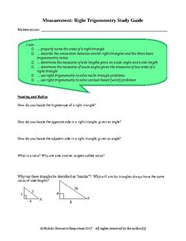 Study Guide - Right Trigonometry