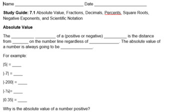 Study Guide: SOL 7.1: AbValue, Fractions, Square Roots, Neg Exponents, Notation