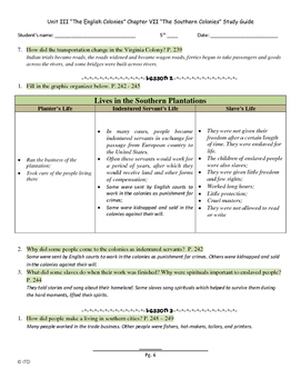 Study Guide Social Studies US History Chapter 7 The Southern Colonies
