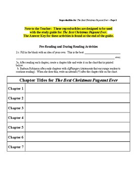 Study Guide: The Best Christmas Pageant Ever Reproducibles