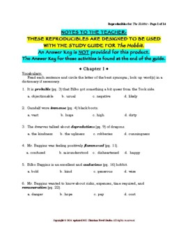 Study Guide:  The Hobbit Reproducibles