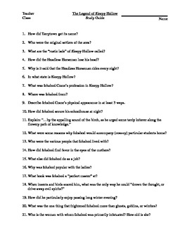 Study Guide: The Legend of Sleepy Hollow (with answer key)