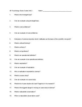 Study Guide Unit 2 Myers AP Psychology 2nd edition