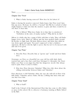 Study Guide w/ Answer Key for Ender's Game by Orson Scott Card